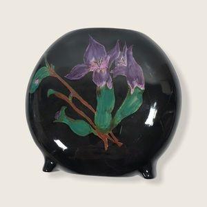 Vintage Collectable Black Purple Floral Iris Vase